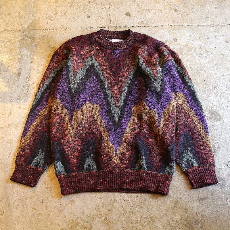 画像1: ART PATTERN KNIT SWEATER / Ladies L / MADE IN ITALY (1)