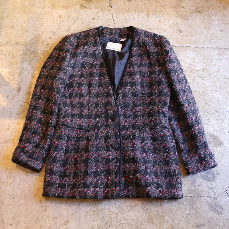 画像1: CHECK PATTERN N/C MOHAIR JACKET / Ladies M / MADE IN USA (1)