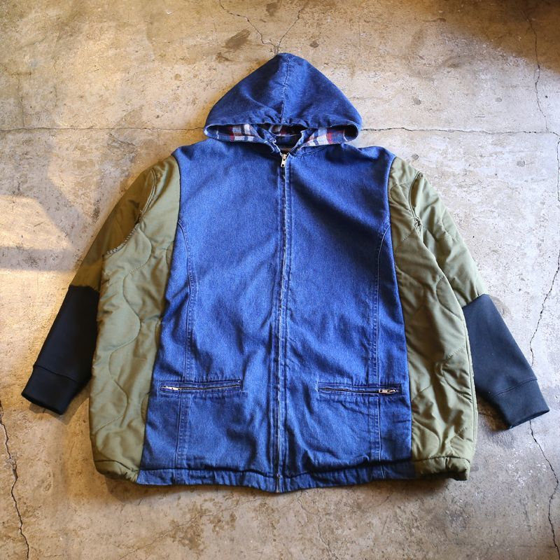 "画像1: 【Wiz&Witch】""UNITED"" MIX FABRIC ZIP UP PARKA / OS (1)"