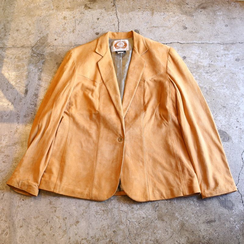 画像1: 1970's VINTAGE LEATHER TAILORED JACKET / Ladies M (1)