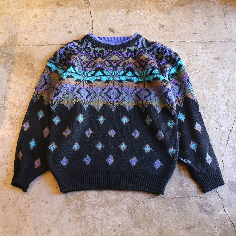 画像1: ALL OVER PATTERN KNIT SWEATER / Ladies M (1)