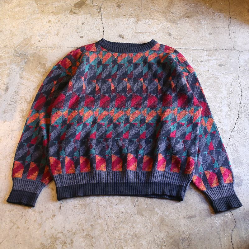画像1: ALL OVER PATTERN KNIT SWEATER / Mens XL / MADE IN USA (1)