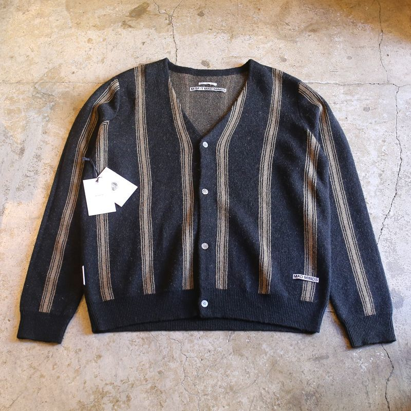 画像1: STRIPE PATTERN KNIT CARDIGAN / Mens L (1)