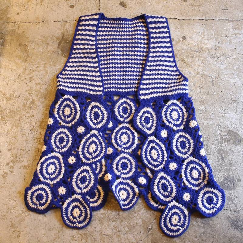 画像1: VINTAGE DESIGN KNIT VEST / Ladies S~M (1)