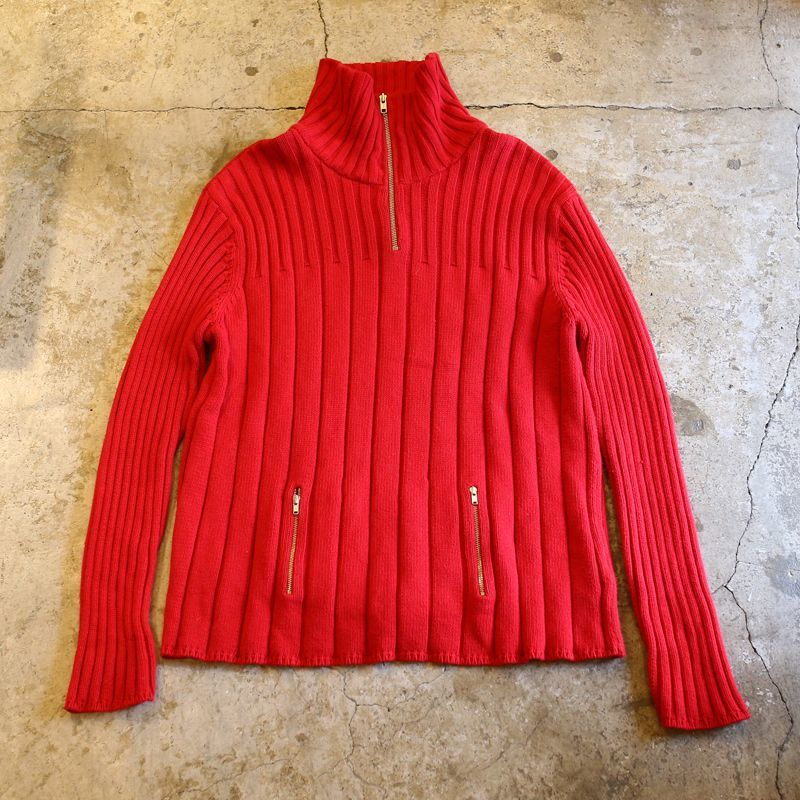 画像1: HALF ZIP DESIGN HI-NECK KNIT / Ladies L (1)