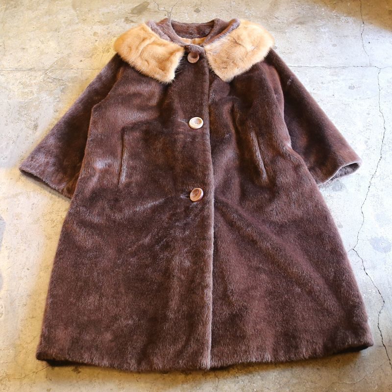 画像1: 1960's VINTAGE FUR DESIGN COAT / Ladies M (1)