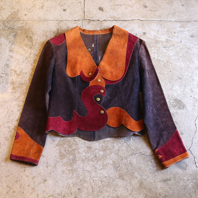 画像1: 1970's VINTAGE SUEDE DESIGN JACKET / Ladies S (1)