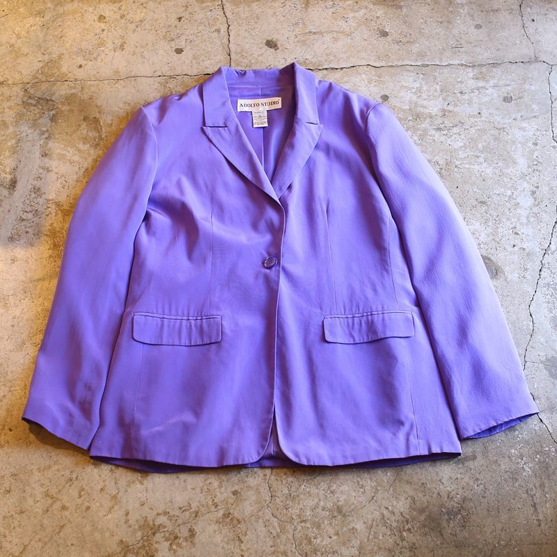 画像1: COLOR DESIGN SILK TAILORED JACKET / Ladies M~L (1)