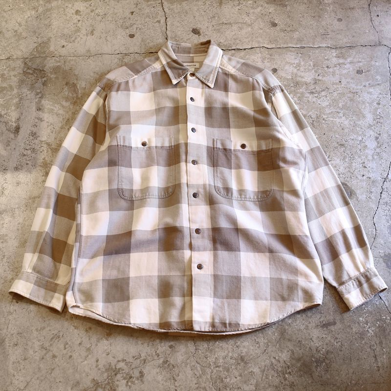 画像1: CHECK PATTERN DESIGN L/S SHIRT / Mens M (1)