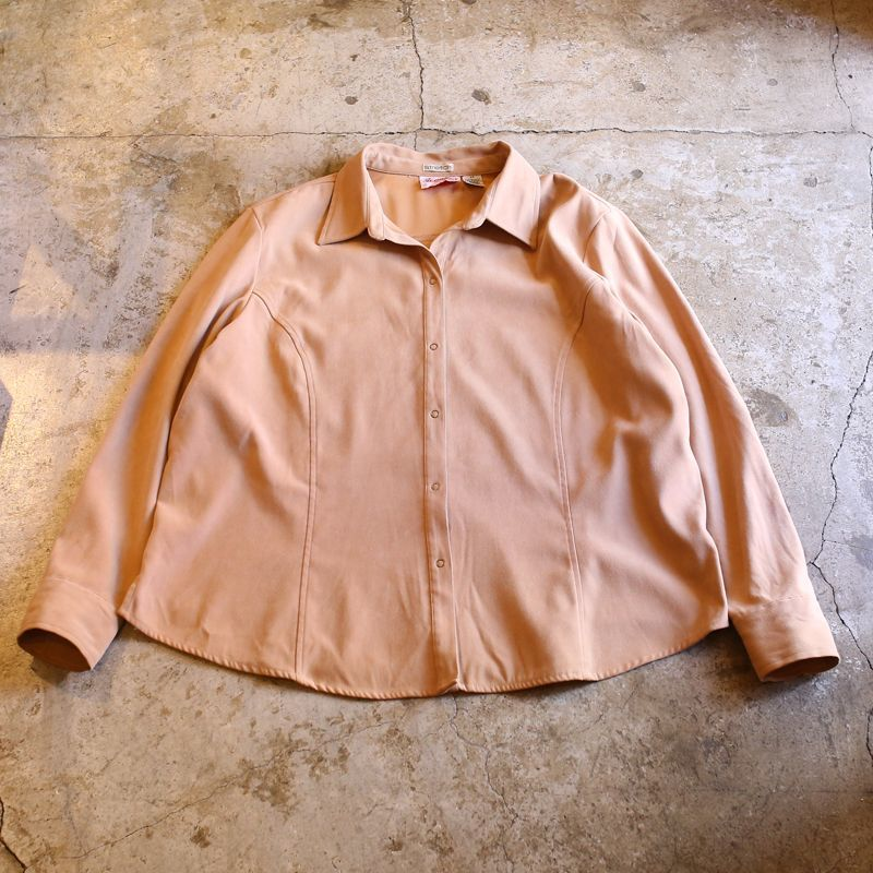 画像1: FAUX SUEDE DESIGN L/S SHIRT / Ladies 2X (1)