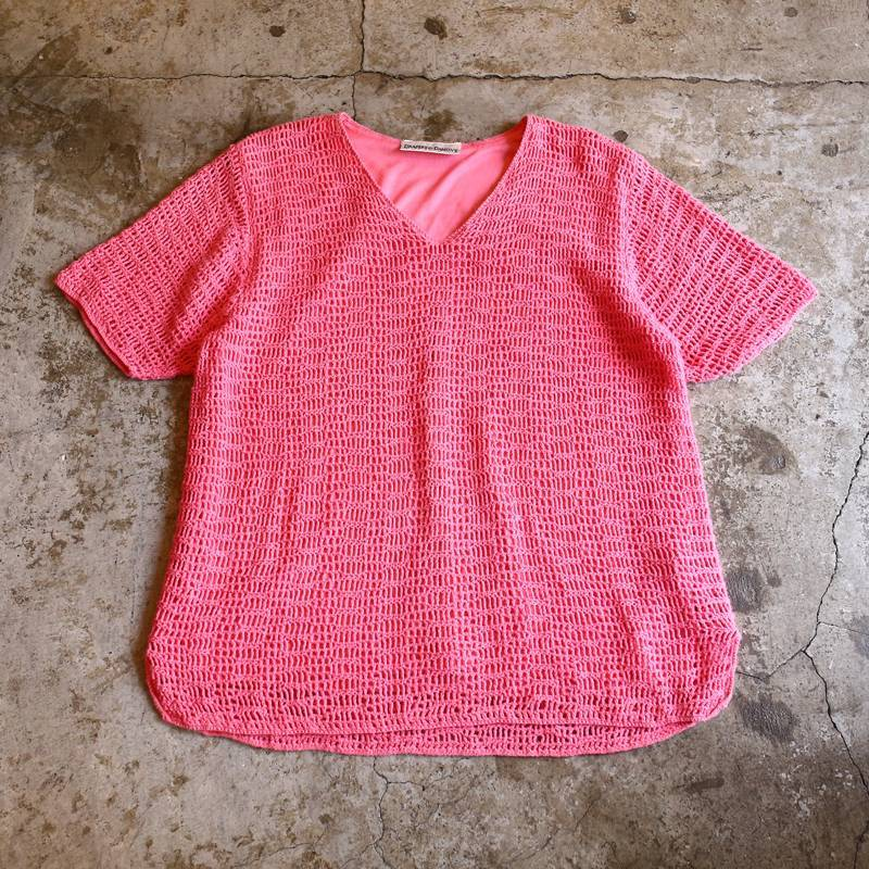画像1: MESH DESIGN COLOR TOPS / Ladies L (1)