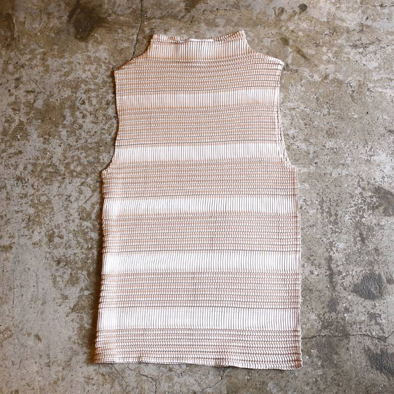 画像1: WRINKLE DESIGN BORDER VEST / Ladies M (1)