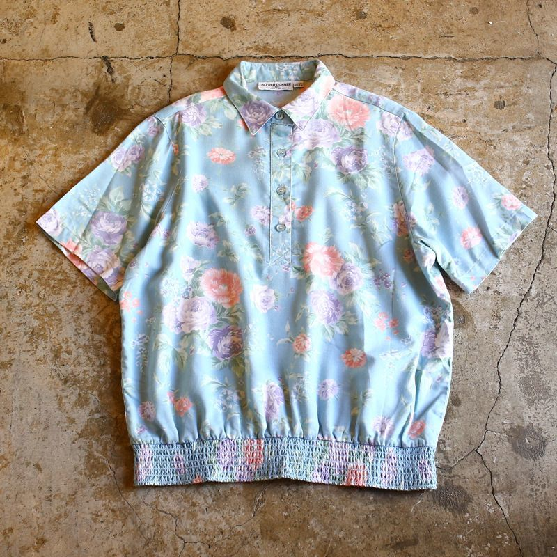 画像1: FLORAL PATTERN DESIGN POLO SHIRT / Ladies M / MADE IN USA (1)