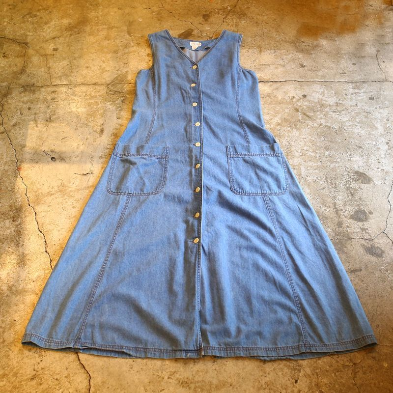 画像1: DESIGN DENIM N/S ONE-PIECE / Ladies M (1)