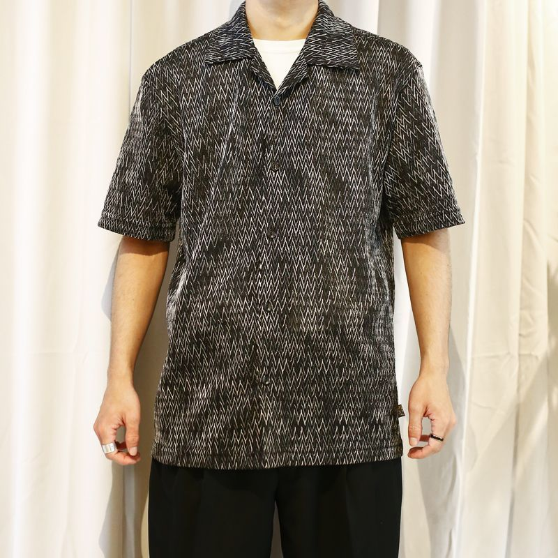 画像1: OLD JAGGED DESIGN O/C SHIRT / Mens L / MADE IN USA (1)