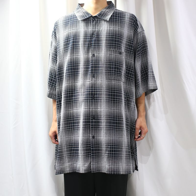 画像1: GRADATION CHECK S/S OVER SHIRT / Mens 4XL (1)