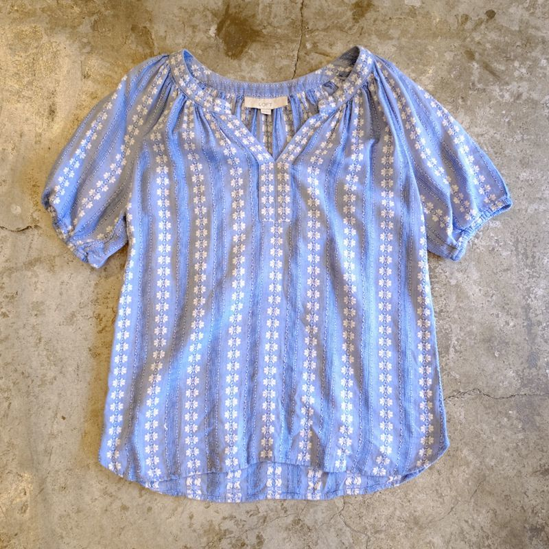 画像1: STRIPE PATTERN EMBROIDERY BLOUSE / LadiesXS(M) (1)