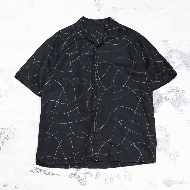 画像1: STITCH LINE ART S/S LINEN SHIRT / Mens L (1)