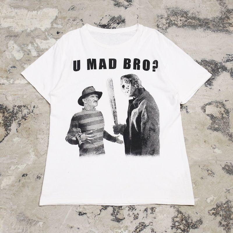 """画像1: """"U MAD BRO?"""" FREDDY&JASON PRINT TEE / Mens M~L (1)"""