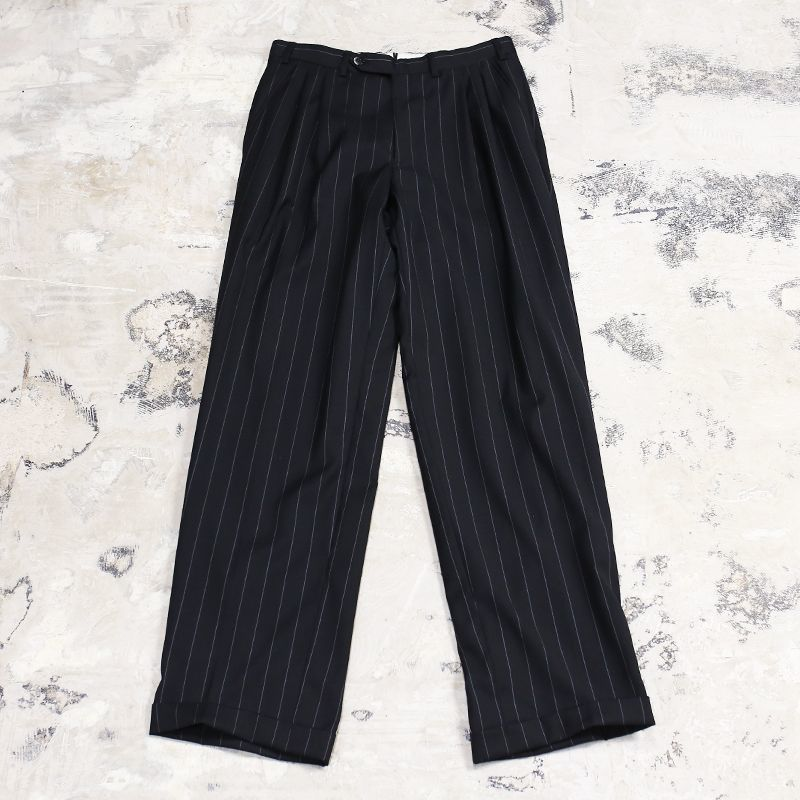 画像1: 2TUCK PINSTRIPE PATTERN WIDE SLACKS / W30 (1)