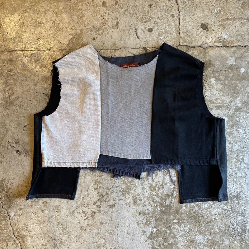 "画像1: 【Wiz&Witch】""UNITED"" DENIM PATCHWORK TOPS / OS (1)"