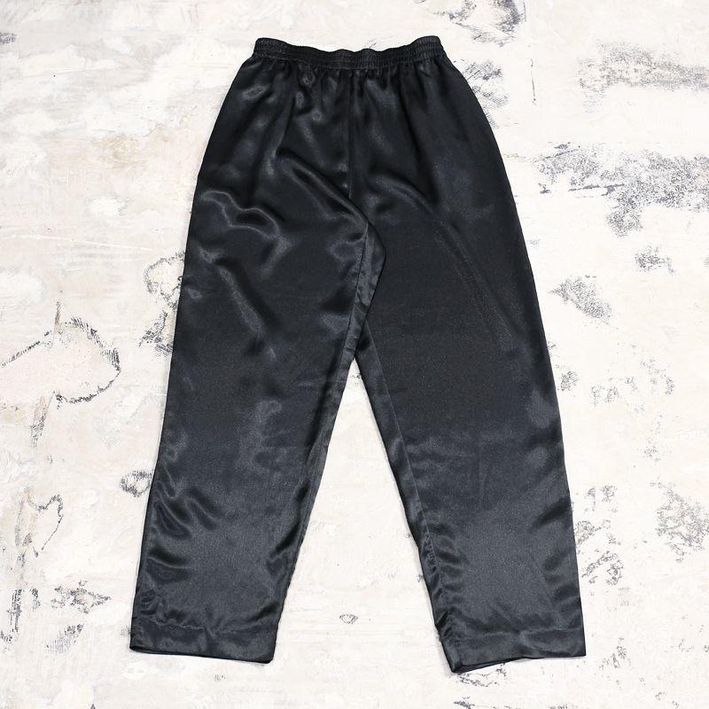 画像1: BLACK SATIN EASY PANTS / W28~ (1)