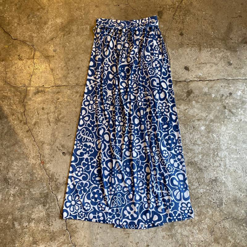 画像1: 70's OVER PATTERN WRAP SKIRT / FREE (1)