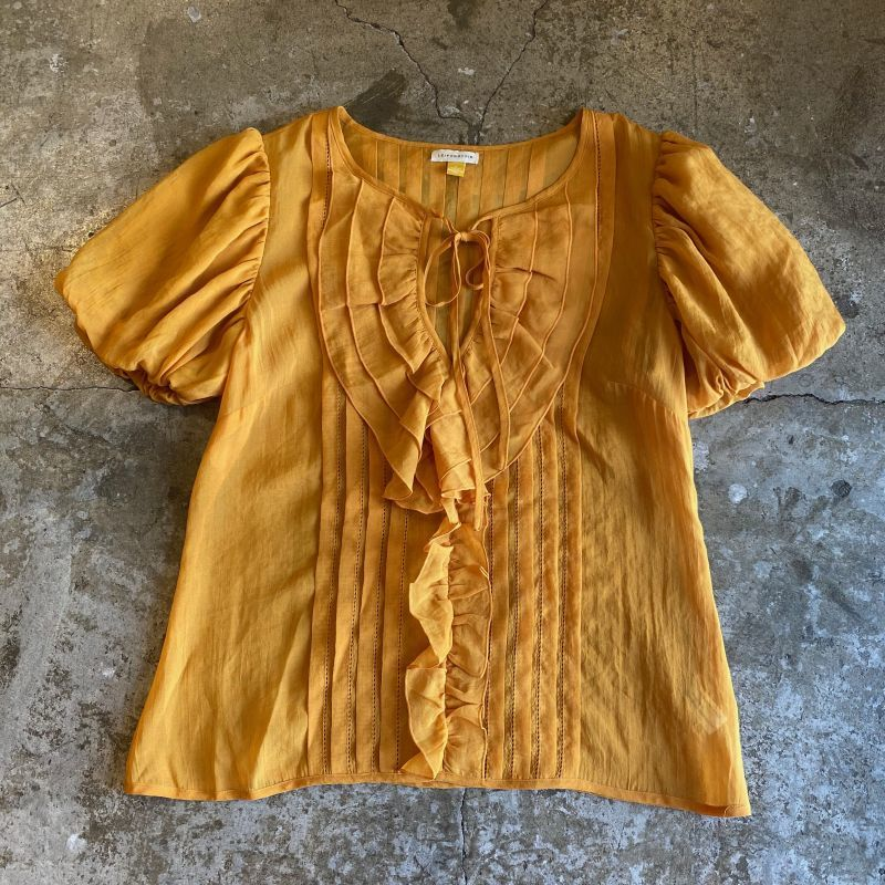 画像1:  PUFF SLEEVE FRILL SHEER S/S BLOUSE / Ladies M  (1)