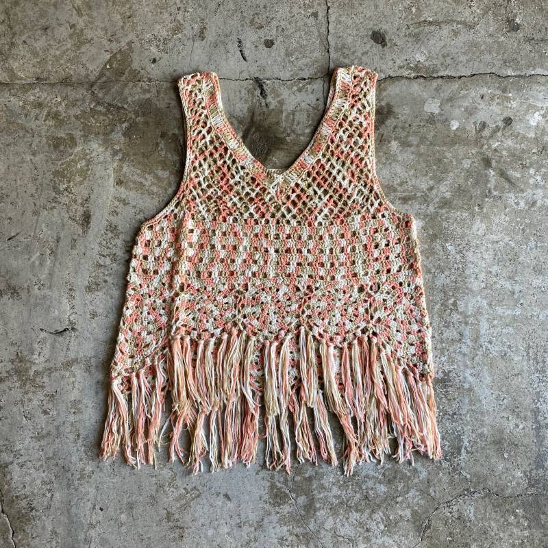 画像1: MIX KNIT FRINGE DESIGN VEST / Ladies S (1)