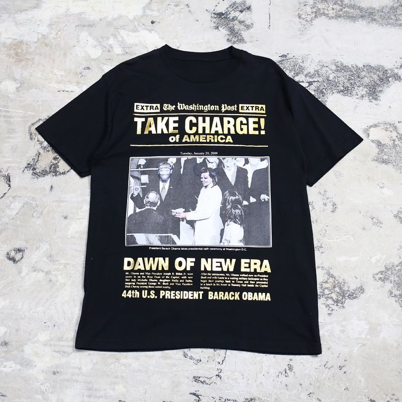"画像1: ""TAKE CHARGE!"" OBAMA PRINTED S/S TEE / Mens XL (1)"