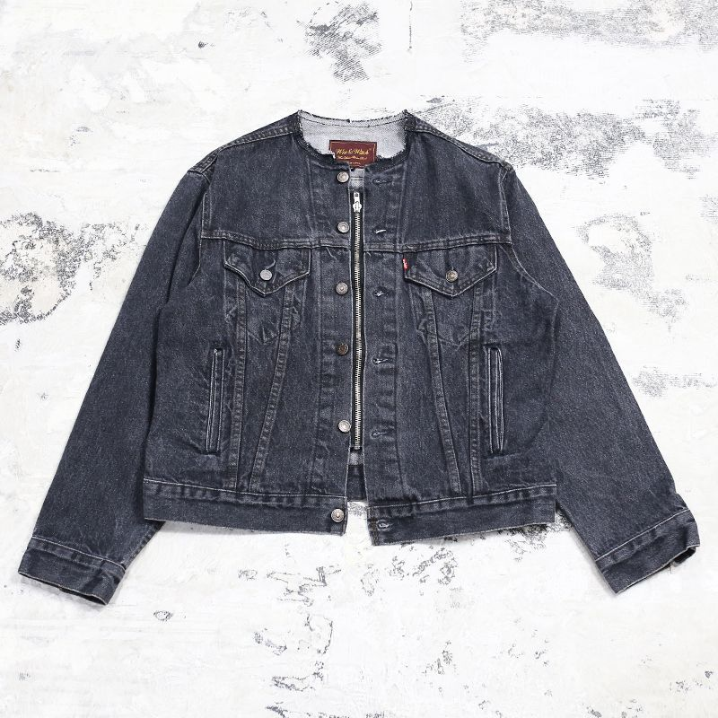 "画像1: 【Wiz&Witch】""WANDERER"" NO COLLAR ZIP UP DENIM JACKET / OS (1)"