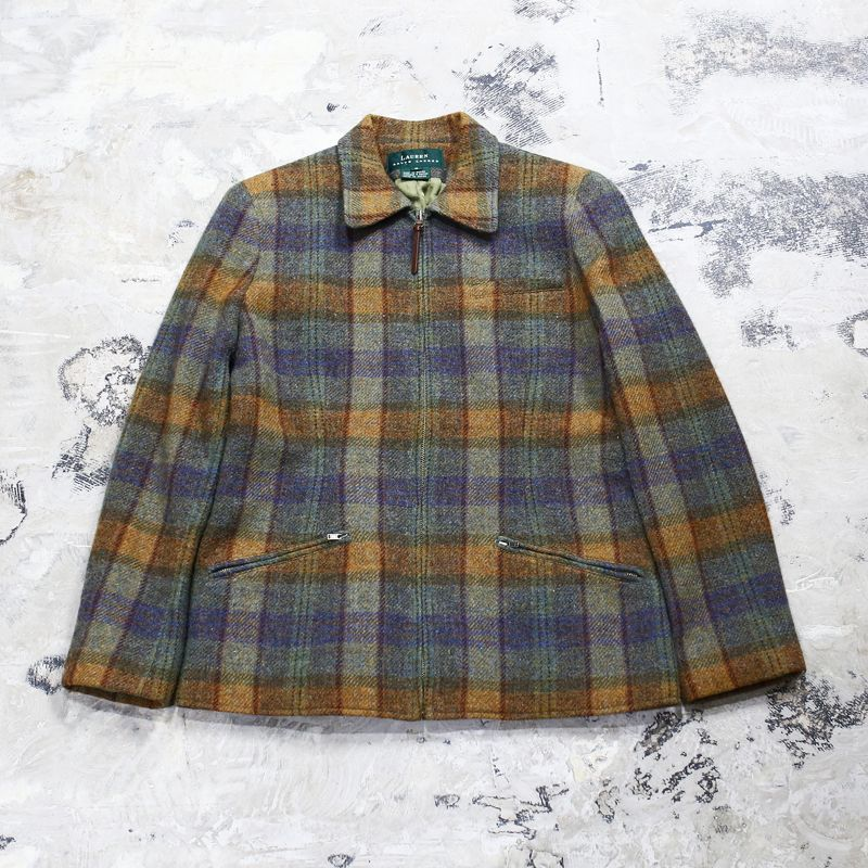 画像1: 【RALPH LAUREN】WOOL CHECK PATTERN JACKET / Mens M(Ladies L) (1)