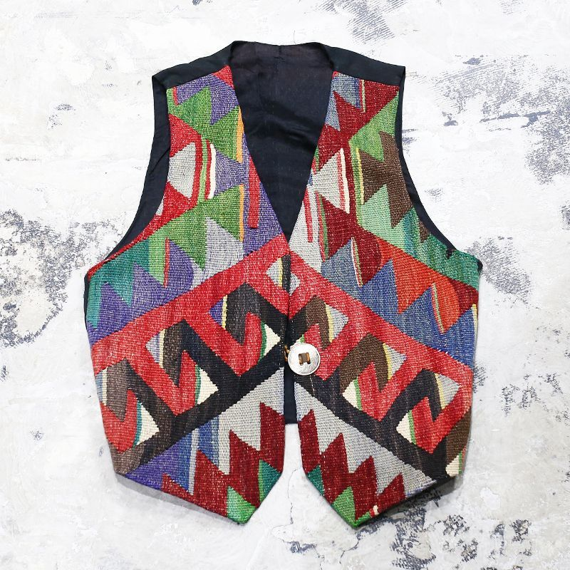 画像1: NATIVE PATTERN GOBELIN VEST / Mens S(M) / MADE IN USA (1)