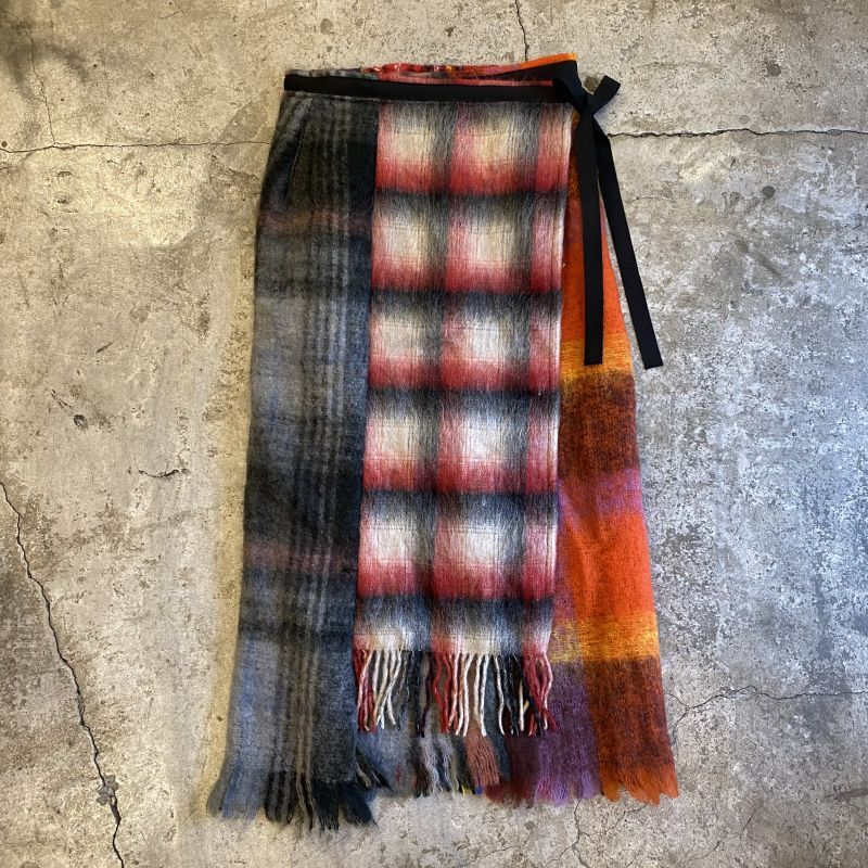 "画像1: 【Wiz&Witch】""UNITED"" VINTAGE MOHAIR WRAP SKIRT / FREE (1)"