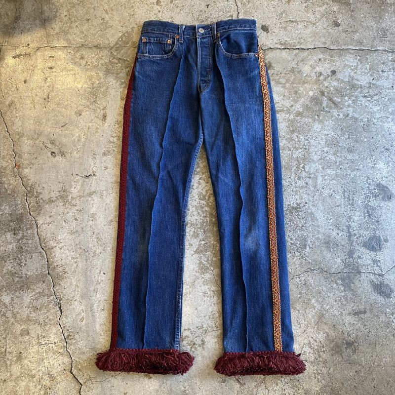 "画像1: 【Wiz&Witch】""DIRTY BEAUTIFUL""  VINTAGE LINE FRINGE JEANS / W28 (1)"