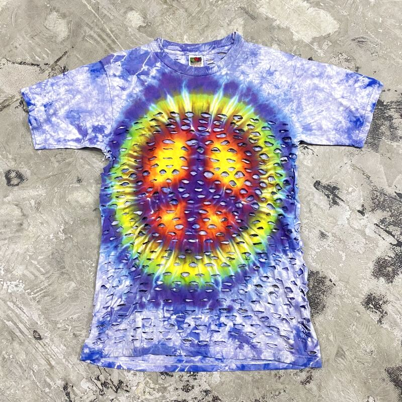 画像1: PEACE MARK TIE DYE CUT S/S TEE / Mens M (1)