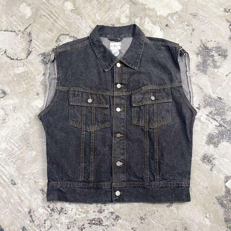 画像1: 90's【CALVIN KLEIN】BLACK DENIM VEST / Mens XL / MADE IN USA (1)