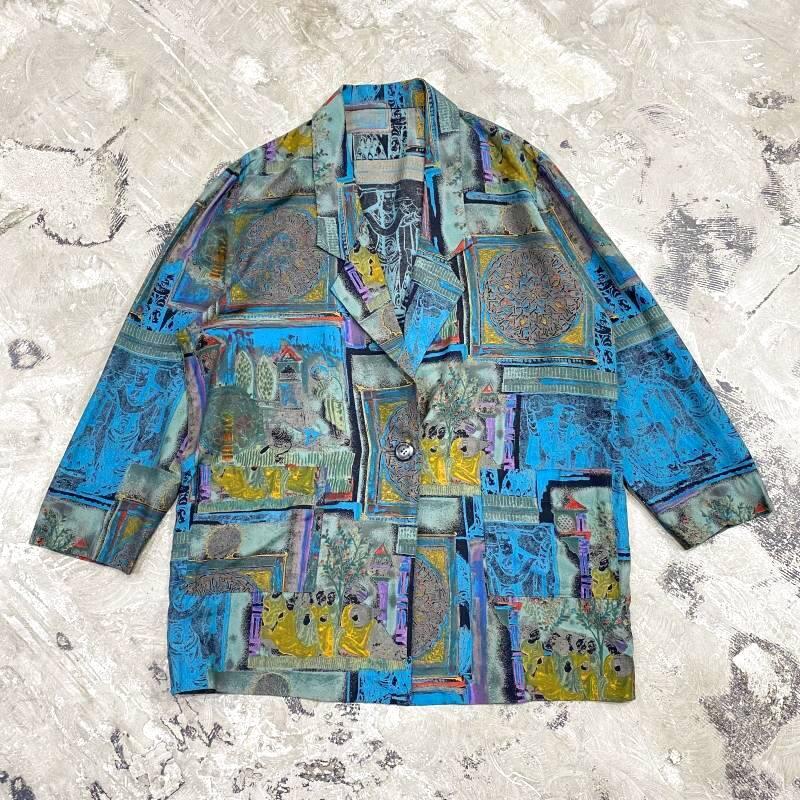 画像1: ART GRAPHIC PATTERN TAILORED JACKET / Mens M (1)