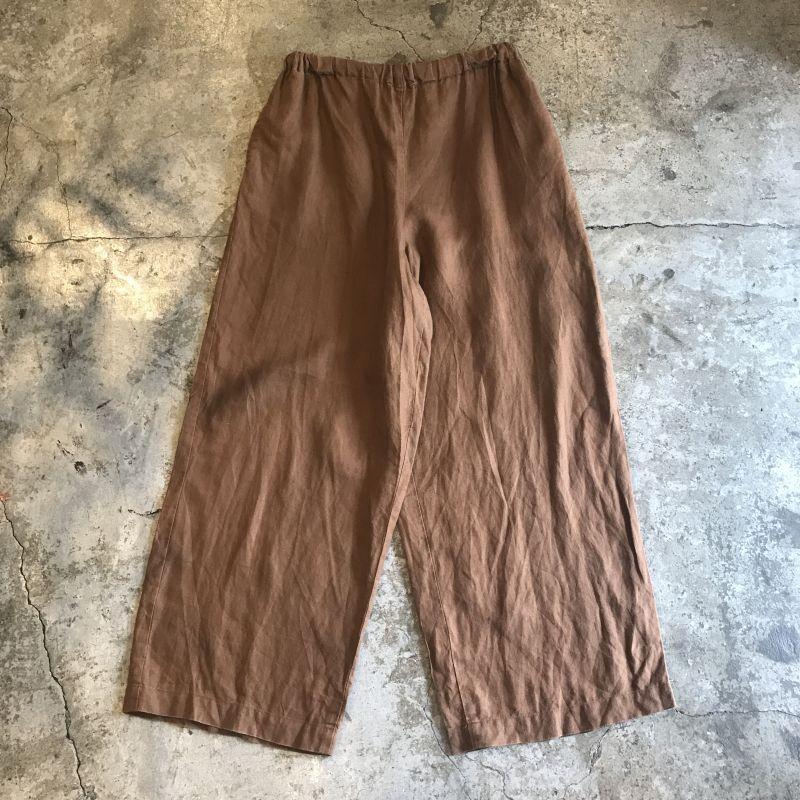 画像1: BROWN COLOR LINEN WIDE PANTS / W25~W33 (1)