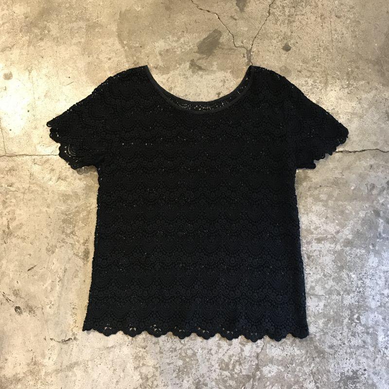 画像1: BLACK COLOR LACE CROCHET S/S TOPS / Ladies M (1)