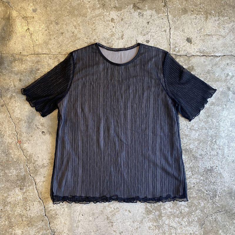 画像1: CLOTH WRINKLES SHEER DESIGN TOPS / Ladies M (1)