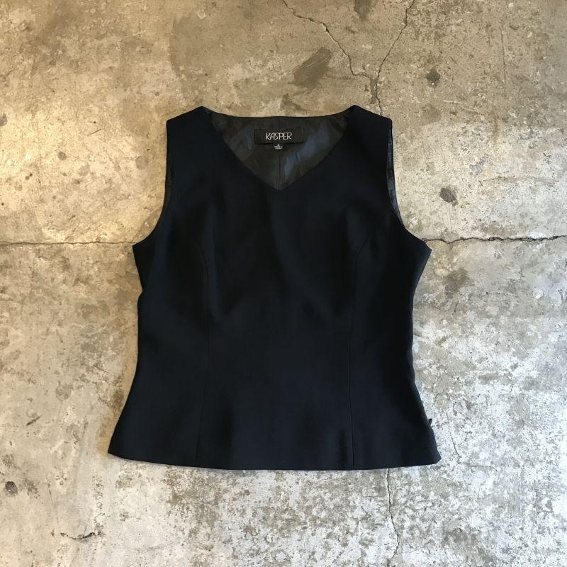 画像1: BLACK COLOR SIDE ZIP DESIGN N/S TOPS / Ladies M(4) (1)
