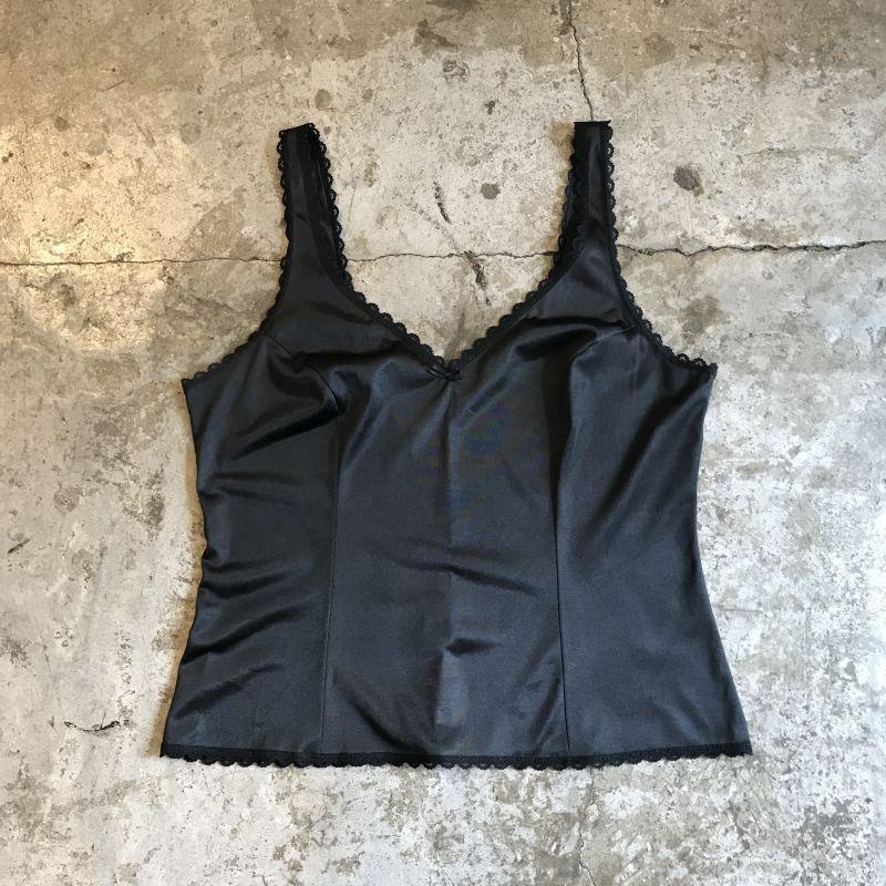 画像1: BLACK COLOR POINTED LACE DESIGN N/S TOPS / Ladies M(36) (1)